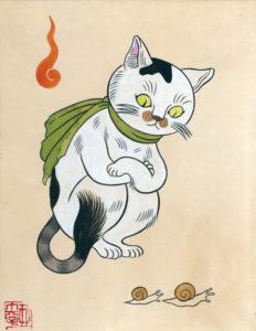 愛猫よんすけ(版画)200×145㎜